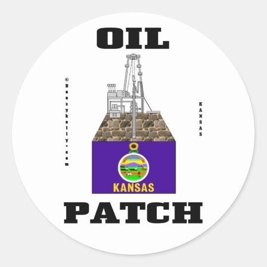 Kansas Oil Patch,Oil Field Sticker,Oil,Gas,Rigs Classic Round Sticker