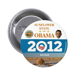 KANSAS para el botón político del pinback de Obama Pin Redondo De 2 Pulgadas