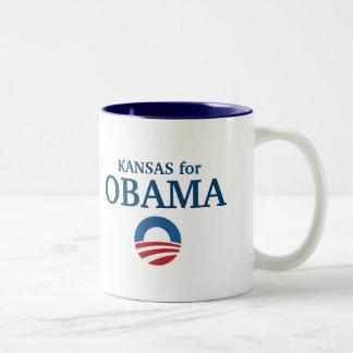KANSAS para el personalizado de Obama su ciudad Taza De Dos Tonos