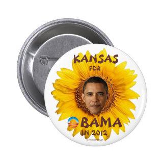 KANSAS para el pinback político de Barack Obama en Pin Redondo De 2 Pulgadas