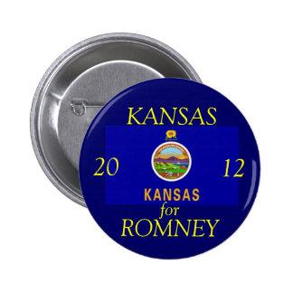 Kansas para Romney 2012 Pin Redondo 5 Cm