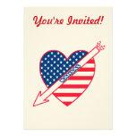 Kansas Patriot Flag Heart Invitation