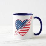 Kansas Patriot Flag Heart Mug