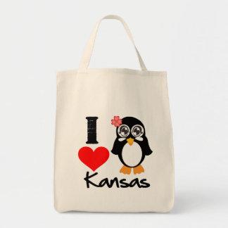 Kansas Penguin - I Love Kansas Canvas Bags