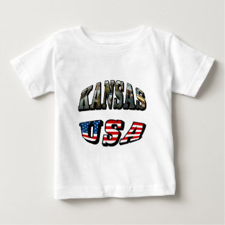 Kansas Picture and USA Flag Font Baby T-Shirt