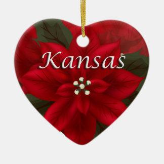 Kansas Poinsettia Heart  Keepsake Ornament