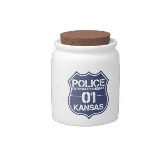 Kansas Police Department Shield 01 Candy Jar