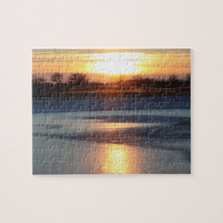 Kansas Pond Sunset Reflection Jigsaw Puzzle