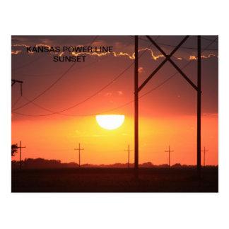 KANSAS POWER LINE SUNSET Postcard