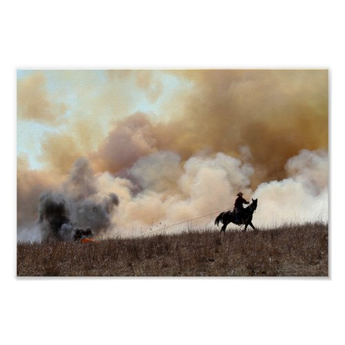 Kansas Rancher Starting a Controlled Prairie Burn Poster