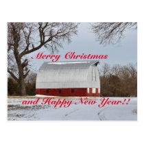 Kansas Red Barn Christmas Postcard