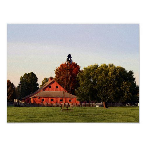 Kansas Red Barn in Autumn Poster