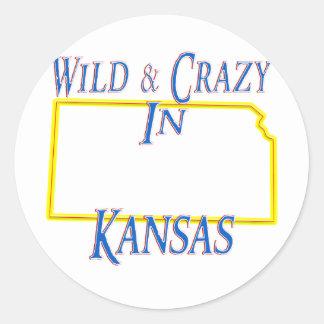 Kansas - salvaje y loco pegatinas redondas