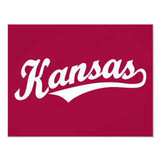 Kansas script logo in white card