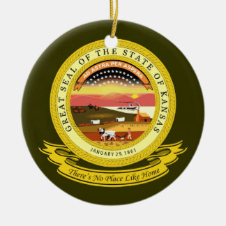 Kansas Seal Ceramic Ornament