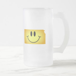 Kansas Smiley Face Frosted Glass Beer Mug