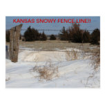 Kansas Snowy Fence Line!! POST CARD