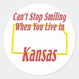 Kansas - sonriendo pegatina redonda