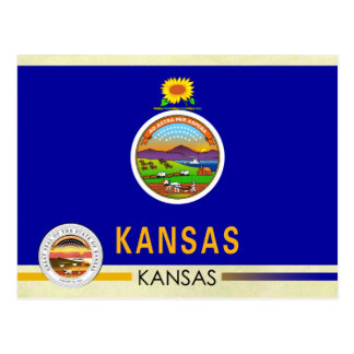 Kansas State Flag and Seal Postcard