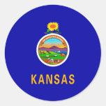 Kansas State Flag Design Classic Round Sticker