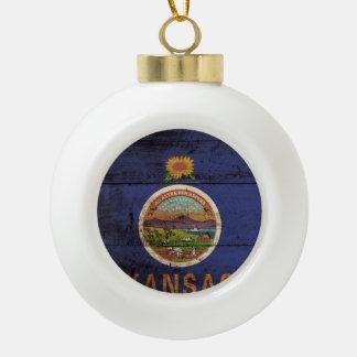 Kansas State Flag on Old Wood Grain Ceramic Ball Christmas Ornament