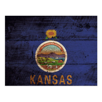 Kansas State Flag on Old Wood Grain Postcard