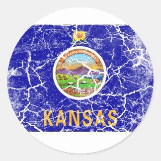 Kansas State Flag Vintage Classic Round Sticker