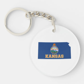 Kansas State Map and Flag Keychain