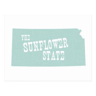 Kansas State Motto Slogan Postcard