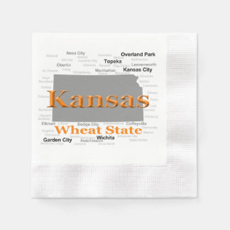 Kansas State Pride Map Paper Napkins
