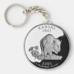 Kansas State Quarter Basic Round Button Keychain
