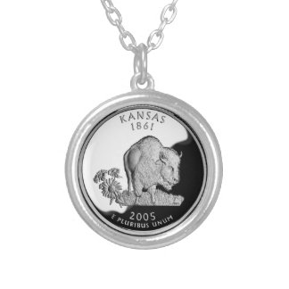 Kansas State Quarter Silver Plated Necklace