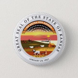 Kansas State Seal and Motto Pinback Button