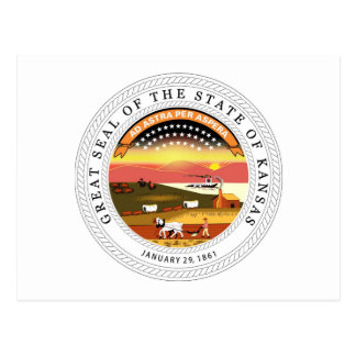 Kansas State Seal and Motto Postcard