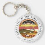 Kansas State Seal Basic Round Button Keychain