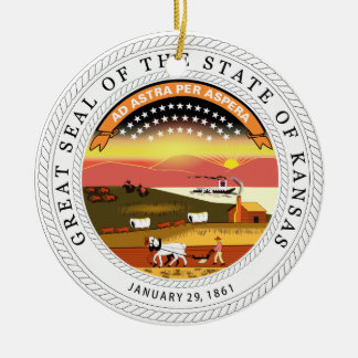 Kansas State Seal Ceramic Ornament