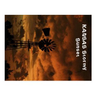 Kansas Stormy Sunset Post Card
