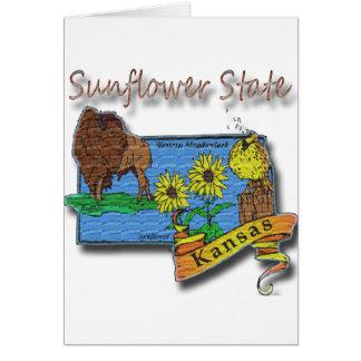 Kansas Sunflower State  Lark Sunflower Buffalo Card