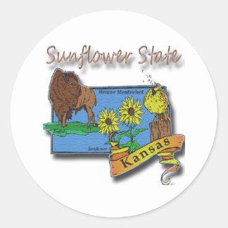Kansas Sunflower State  Lark Sunflower Buffalo Classic Round Sticker