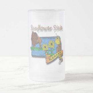 Kansas Sunflower State  Lark Sunflower Buffalo Frosted Glass Beer Mug