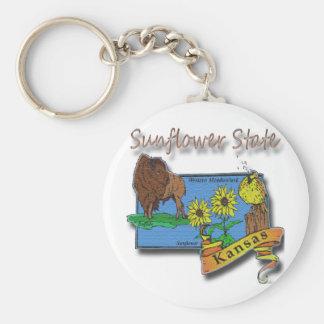 Kansas Sunflower State  Lark Sunflower Buffalo Keychain