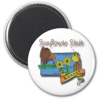 Kansas Sunflower State  Lark Sunflower Buffalo Magnet