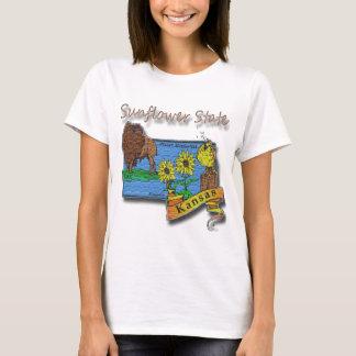 Kansas Sunflower State  Lark Sunflower Buffalo T-Shirt
