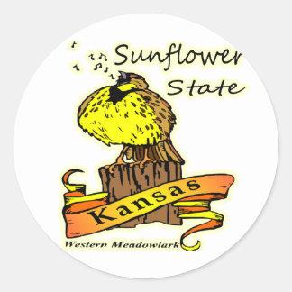Kansas Sunflower State Western Meadowlark Classic Round Sticker