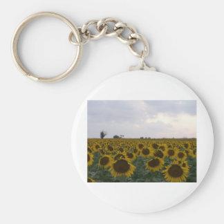 Kansas Sunflowers & Oil Rig Basic Round Button Keychain
