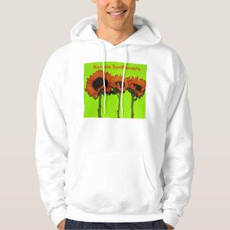 Kansas Sunflower's with green Hooded Sweatshirt