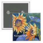 Kansas Suns Sunflowers USA Pinback Button