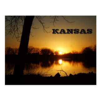 Kansas Sunset Reflection Post Card
