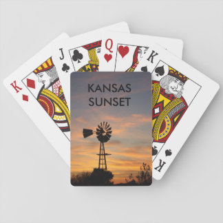 Kansas Sunset with a Windmill PLAYING CARDS Playing Cards
