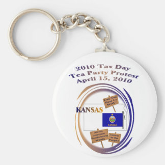 Kansas Tax Day Tea Party Protest Key Ring Keychain